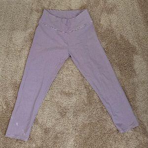 Aerie crop leggings - dark purple striped